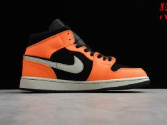 "Air Jordan AJ1 Mid ""Orange/Black""  小扣碎 新欢黑橙 中帮5"